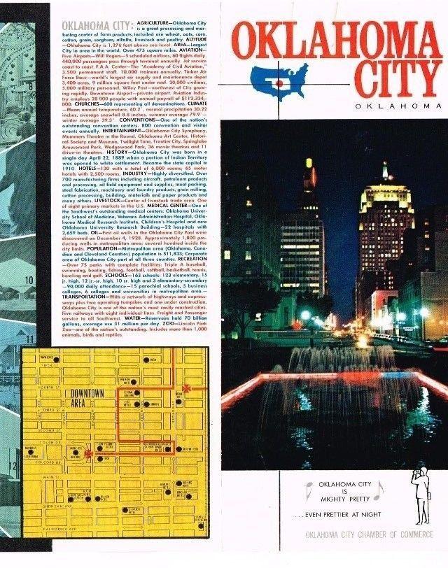 OKLAHOMA City OK Ad Promo Brochure Chamber of Commerce Map 1960's Vintage