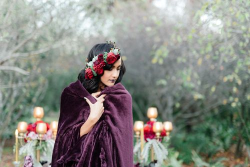 Purple | Red | Gold | Wedding | Moody | Dramatic | Mishka Patel | Spier Wine Farm | Bride | Bouquet | Flower Crown