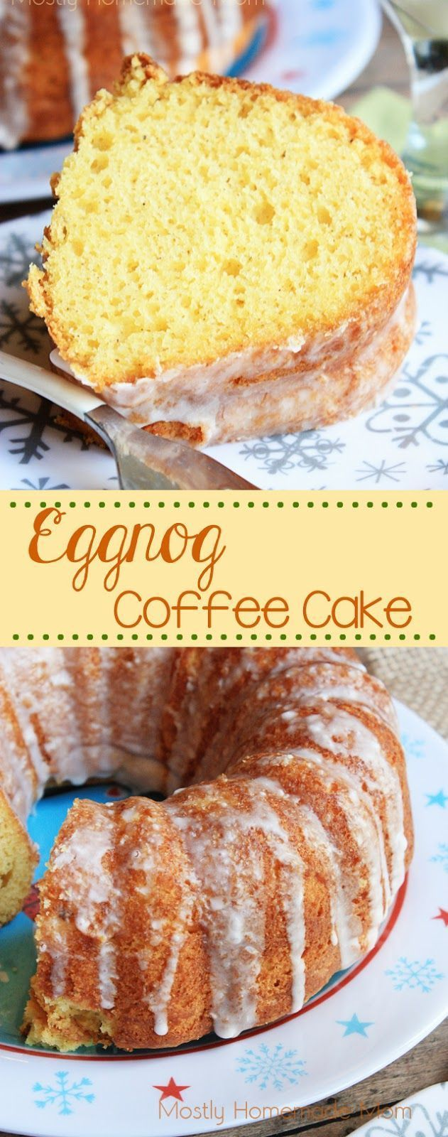 Eggnog Coffee Cake - Yellow cake mix baked with eggnog in the batter, and topped with a sweet eggnog glaze. The perfect holiday breakfast treat! #ShareYourDelight #ad
