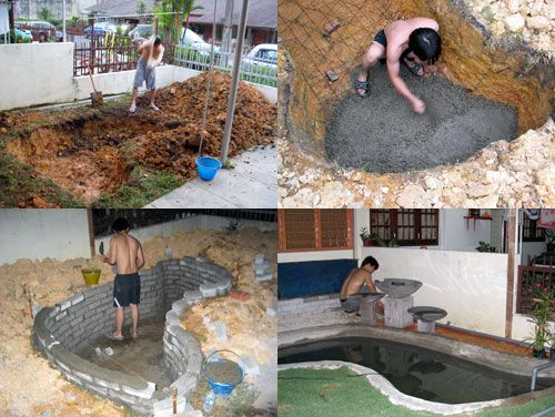 Koi pond building project in various stages small - How to build a swimming pool waterfall ...