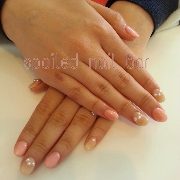 Set of cute pink and nude nails with pearls I did :)
