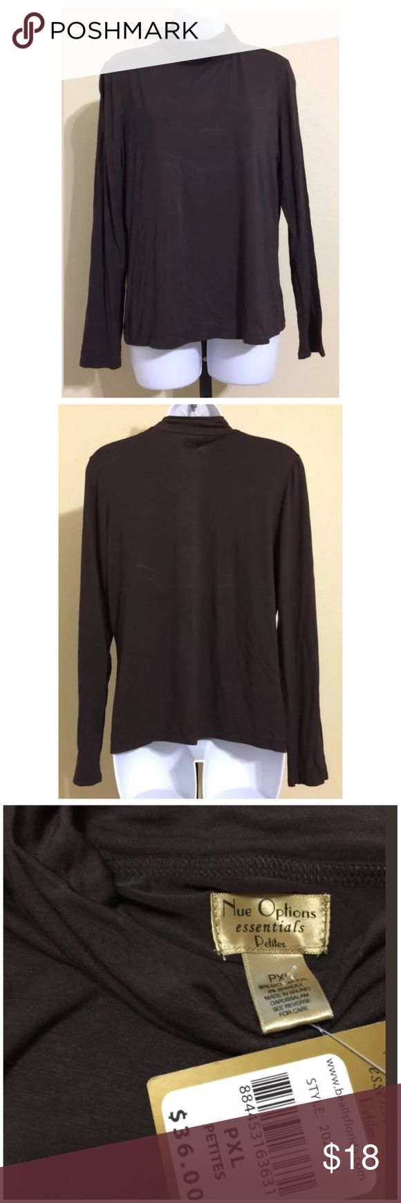 Nue Options Petite Turtleneck Size PXL Nue Options Essentials Petite Women's Turtleneck Top Size PXL Brown Color Long Sleeve Machine Washable 92% Micromodal 8% Spandex Armpit to Armpit Approx. 20 Inches Length from Rear Collar Seam Approx. 23 Inches Shoulder Approx. 16 Inches Sleeve From Shoulder Seam Approx. 24 Inches Compare Measurements To Your Own Well Fitting Garment To Ensure A Great Fit MSRP $ 36.00 New With Tag Nue Options Tops