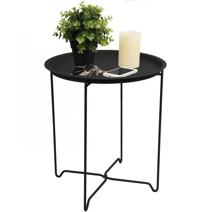 Beistelltisch Ø41x48cm mit Rand Couchtisch Wohnzimmertisch Nachttisch Schwarz
