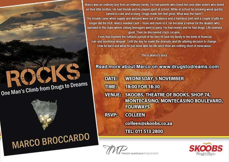 An invitation to the launch of ROCKS, at Skoobs (MonteCasino) on the 5th of November '14