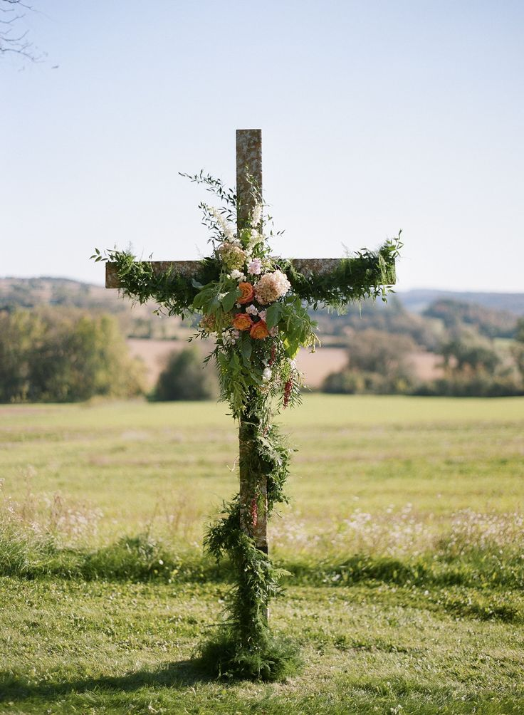 Love this with a little more of my colors for wedding but I like all of the green going around the cross. Very pretty!!