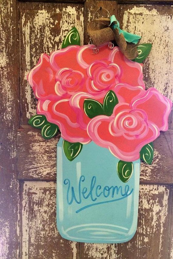 Mason Jar Door Hanger Summer Wreath Roses by SouthernStyleGifts