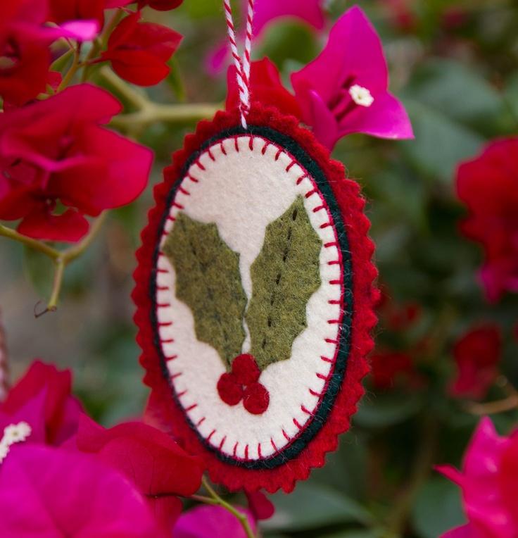 Handmade Wool Felt Ornament - Christmas Holly Leaves and Berries. $7.50, via Etsy.
