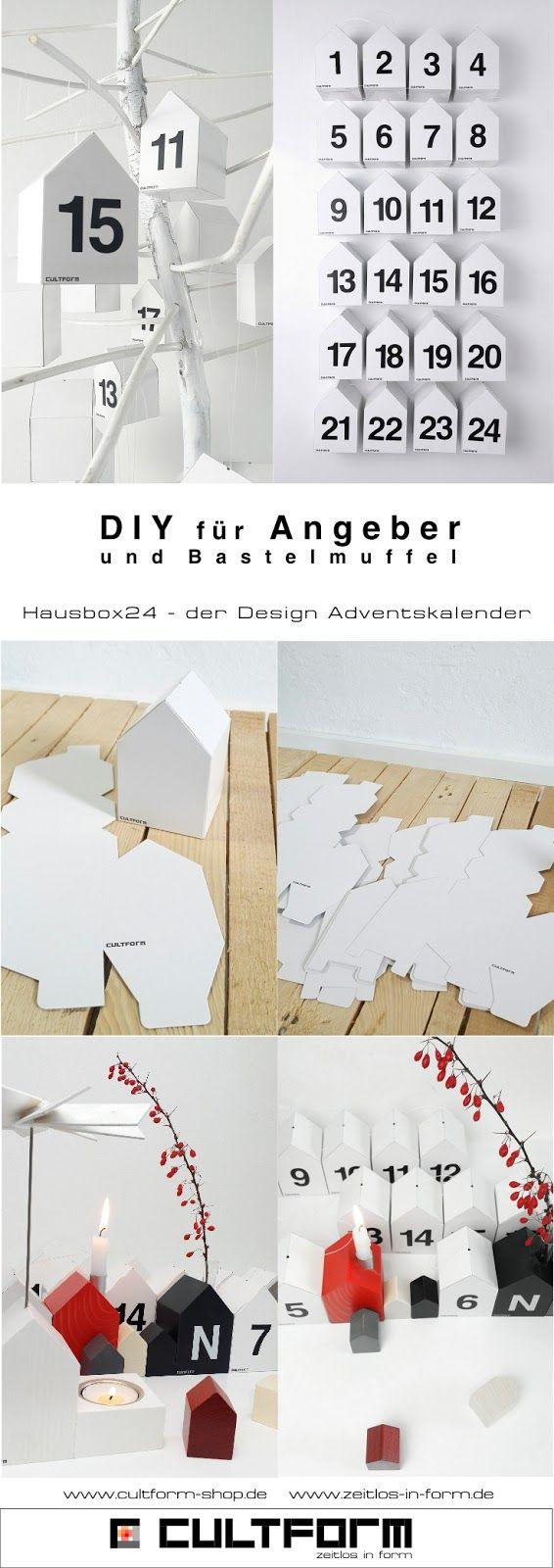 """Geniale Geschenkidee und ganz einfaches """"DIY für Angeber (und Bastelmuffel). Der Design - Adventskalender Hausbox24 von CULTFORM. #diy #adventskalender #weihnachten #christmas #geschenk #minimal #häuschen #häuschen #houses #design Pinterestgrafik_Blog_zeitlos-in-form_hausbox24"""