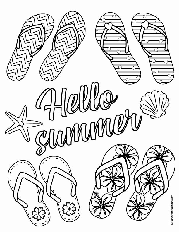 Flip Flops Coloring Page Luxury Flip Flop Coloring Page You Ll Want To Color To Her With Summer Coloring Pages Summer Coloring Sheets Easy Coloring Pages