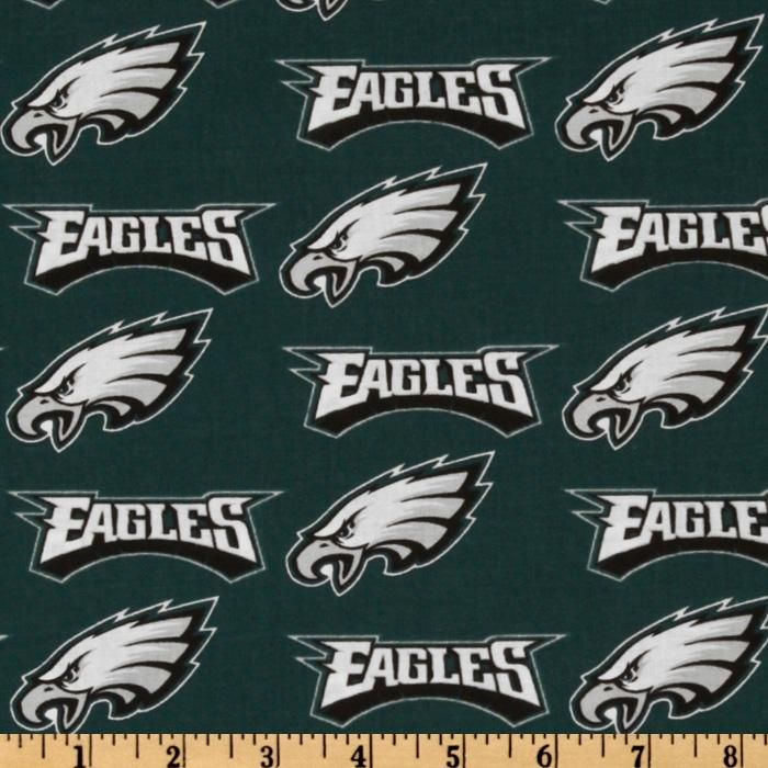 NFL Cotton Broadcloth Philadelphia Eagles Green/Silver/White from @fabricdotcom  Cheer on the Philadelphia Eagles, your favorite NFL team, with this NFL cotton broadcloth fabric. Perfect for use in quilting projects, craft projects and even apparel. Colors include green, silver, and white.