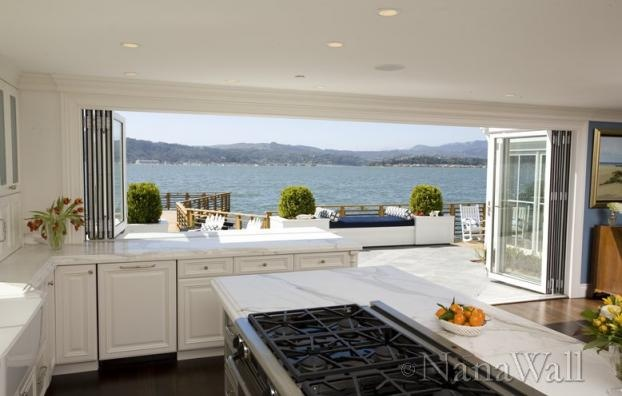 Open floor plan kitchen to the outdoors. Feng Shui