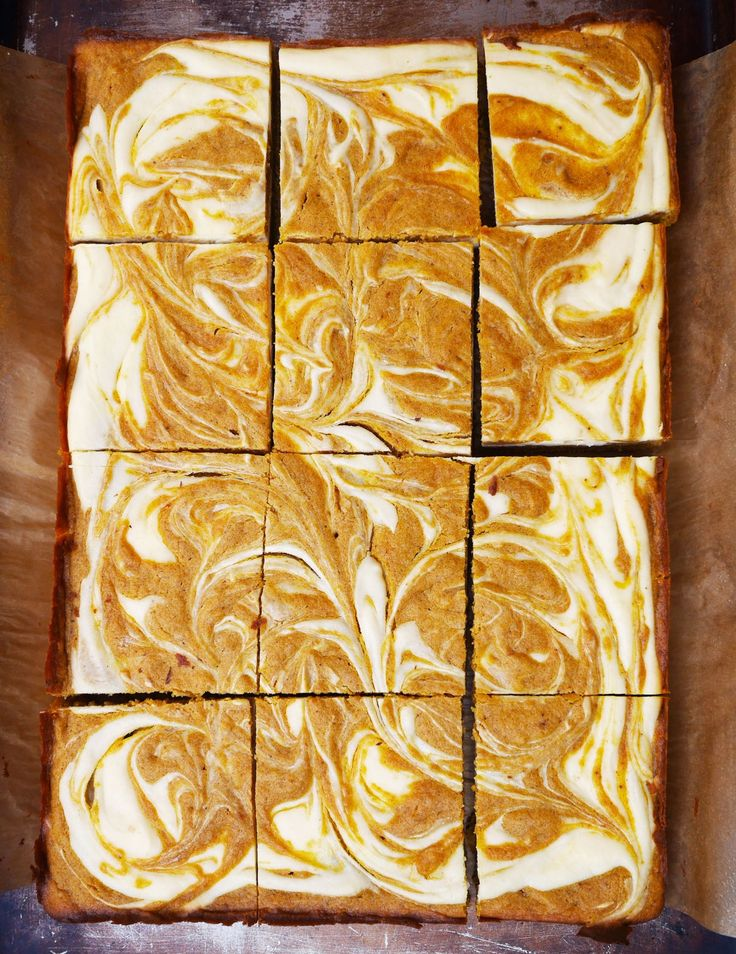 Pumpkin Spice Blondies with Cheesecake Swirl