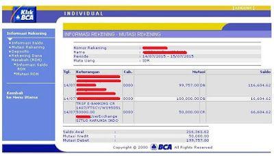 Uang dari situs online survey PoinWeb sudah diterima di rekening bank BCA | SurveiDibayar.com
