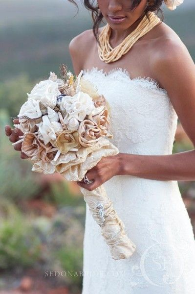 Love this bouquet with white and gold. Add some seashells or brooch to spice it up.
