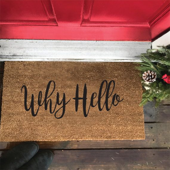 Why Hello Door Mat This Makes an awesome housewarming gift, Closing gifts, or just because gift. Personalized doormat.  Size: 18 x 30 Material: 100% Natural Coir Fibers, All mats are mild and mold resistant and have a sturdy latex backing for non slipping Handpainted: Permanent Acrylic Paint and Sealed. Mats are supper easy to clean by shaking out and outdoor safe. ________________ INSTAGRAM: @Hitchli Facebook @HITCHLI  © 2016 HITCH LI All Rights Reserved.