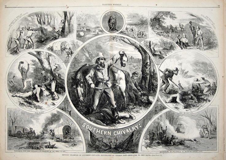 """""""Southern Chilvary"""" Originalmente publicado pelo """"Harper's Weekly"""", representa uma série de imagens no contexto da guerra civil americana, referindo-se a ultrajes rebeldes. Exemplo da industrialização da impressão"""