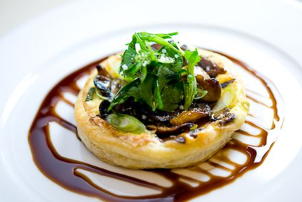 Wild Mushroom Tart with Gruyère, Herb Salad & Balsamic Reduction ...