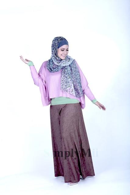 SimplyMii - Sabrina Rectangle Top - Grape IDR 165.OOO (all size) | Sabrina Wide Leg Pants - Chocco Denim IDR 225.OOO (all size)