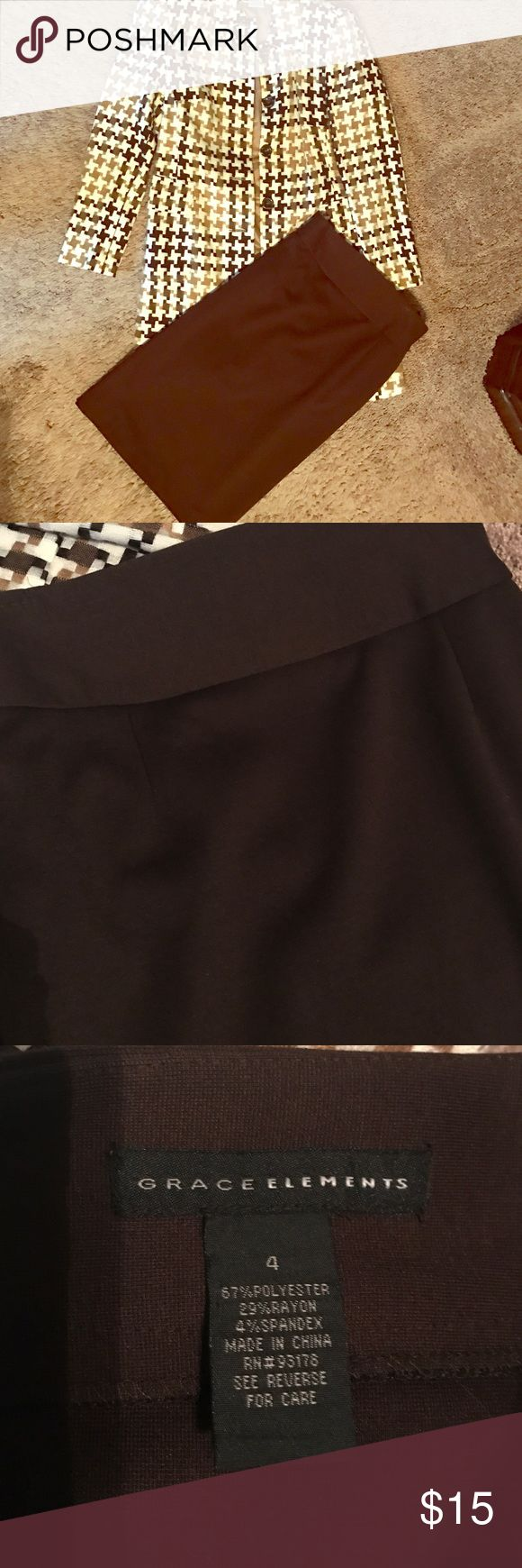Grace Elements chocolate brown pencil skirt Great wardrobe piece this chocolate pencil skirt goes great paired with a jacket or sweater and some boots. Jacket is in separate listing but makes a great bundle with this skirt Grace Elements Skirts Pencil