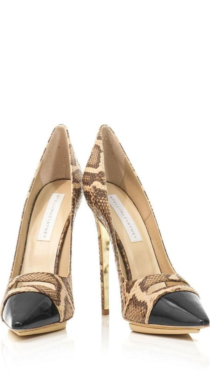 Stella McCartney Capped-toe snake-print pumps ♥✤ | KeepSmiling | BeStayBeautiful