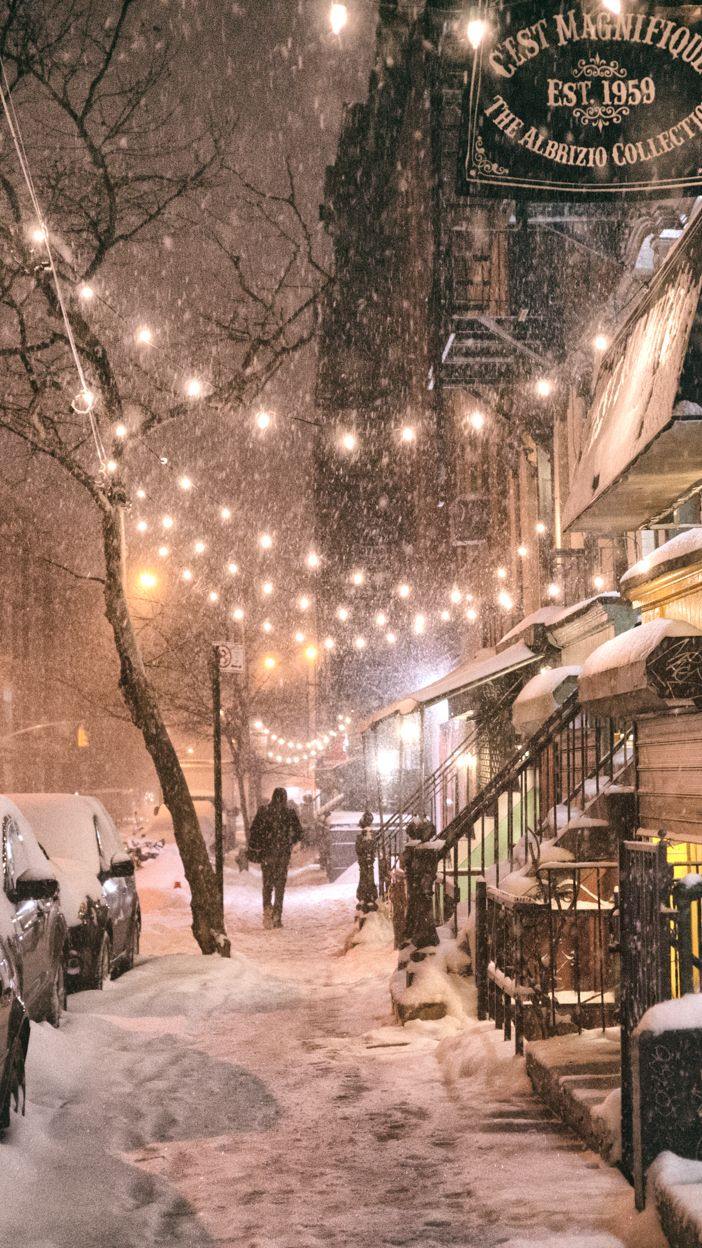New York City in the snow. East 9th Street in the East Village on a winter night during a snowstorm. One of the best times to experience NYC in the winter! :)