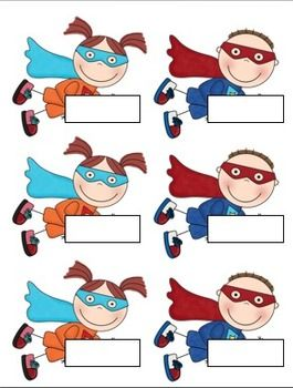 Back to school superhero labels.