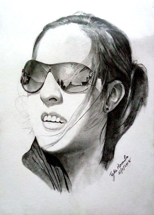 e31d9df35407 Beautiful girl in sunglasses pencil drawing My Drawings