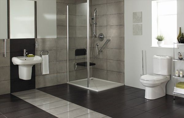 Stylish wetroom with a seat for people with mobility issues.