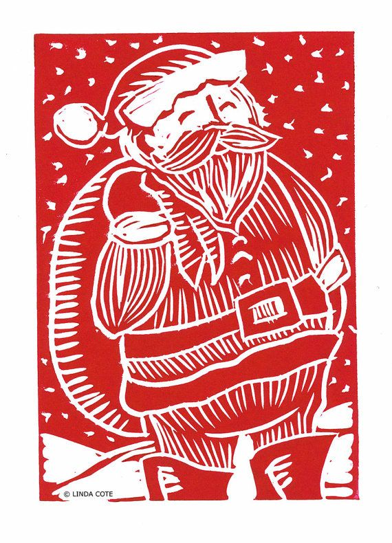 Retro Santa Hand Pulled Lino Relief Christmas by LindaCoteStudio, $7.00