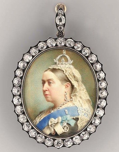 An important miniature of Queen Victoria, in a lace-bordered black dress, collet necklace and earrings, small crown and lace veil, wearing the blue sash of the Order of the Garter and medal of the Royal Order of Victoria and Albert and Imperial Order of the Crown of India. Signed and dated in pencil 'Painted by H. Char. Heath London 1890'.  Oval, high, gold frame set with 10 carat circular brilliant cut diamonds, the hinged reverse engraved 'PRESENTED TO M. H.M.S. Stanley, BY Victoria R.I…