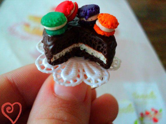 cake macaroon ring miniature food polymer clay by EVELjewlery