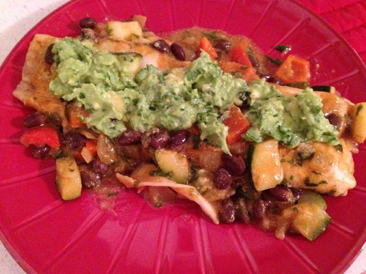 Vegan Enchiladas with Avocado Cream Sauce | Vegan Food | Pinterest ...