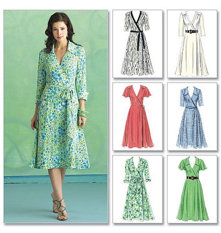 BUTTERICK B5030 MISSES\' WOMEN\'S WRAP FRONT DRESS & SASH SEWING ...