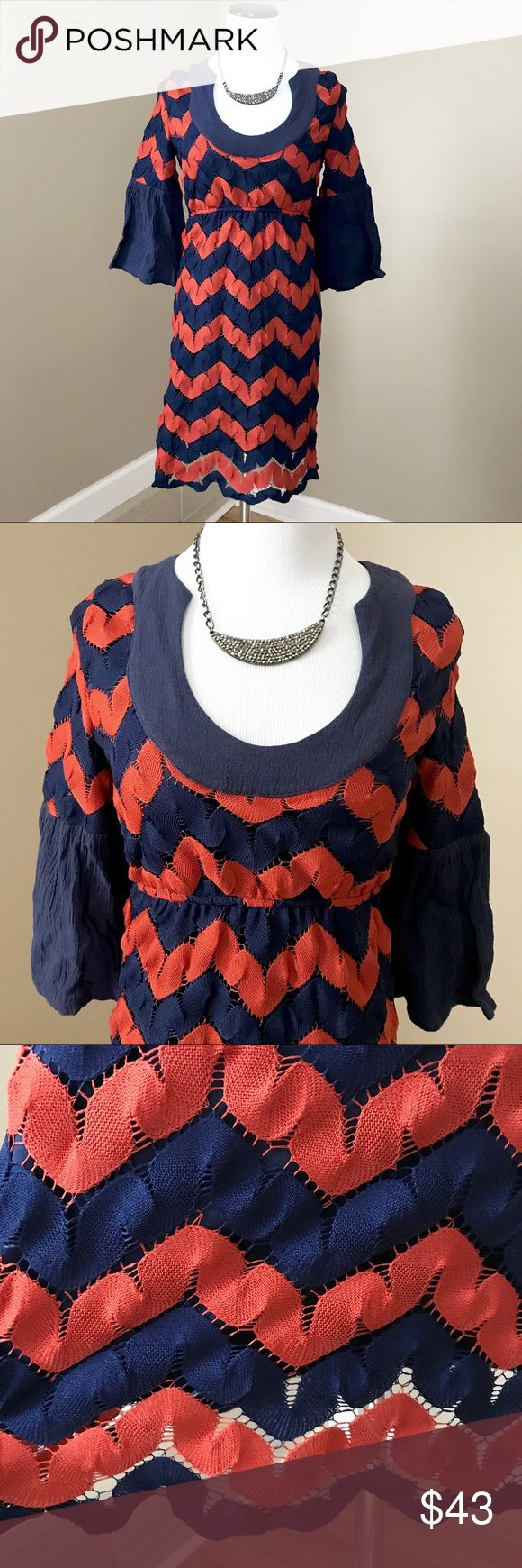 "♥️Judith March Chevron Bohemian Hippie Dress Size Small. Chevron Navy and Burnt Orange crocheted overlay. Bell sleeves. Low neck. Stretches under bust. 34"" long. Good condition. Judith March Dresses Midi"