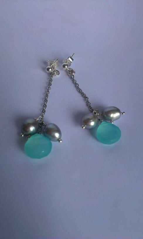 Acqua chalcedony and freshwater pearl 10 eur on etsy.com shop OlgAurora