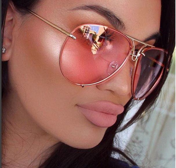 "Color ""Posch"" Oversized Women Sunglasses Aviator Flat Top Square Shadz Pink"