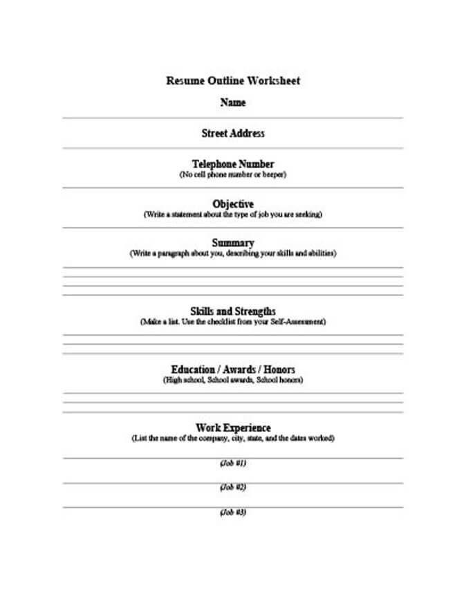 Resume Worksheet Template Resume For High School Student Resume Outline Functional Resume Template Resume Design Template