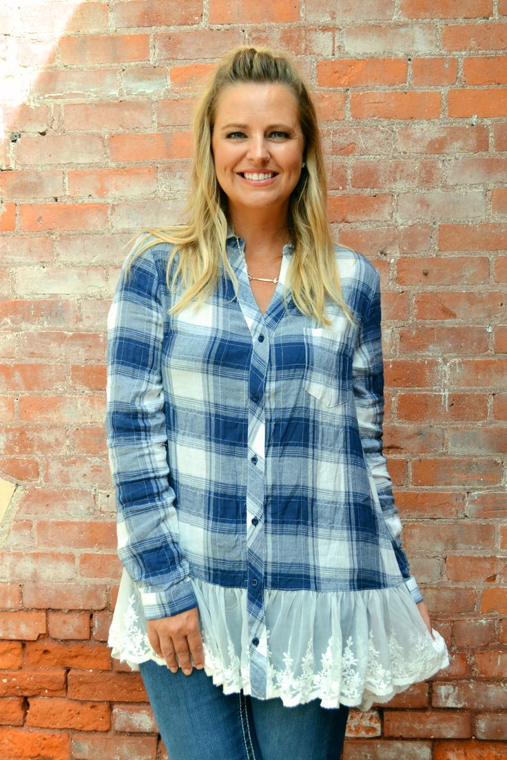 - Plaid tunic button down top with lace trim. - 100% cotton.
