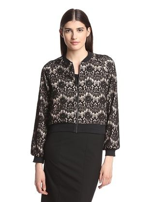 70% OFF Jay Godfrey Women's Cook Lace Varsity Jacket (Black/Blush)