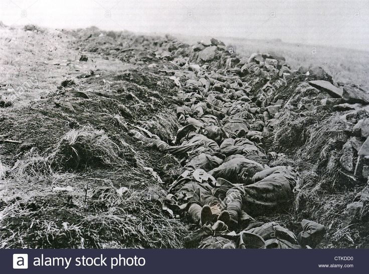 BATTLE OF SPION KOP 23-24 January 1900. British dead in the trench overlooked by the Boer gun positions
