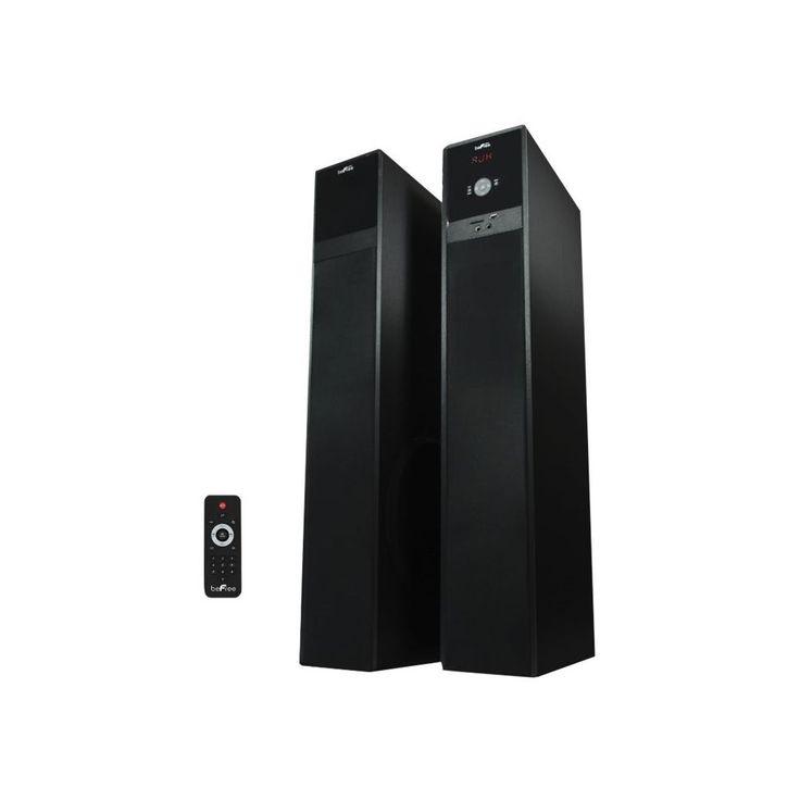 """beFree Sound - 5.1"""" Powered Wireless 2-Way Floor Speakers (Pair) - Black"""