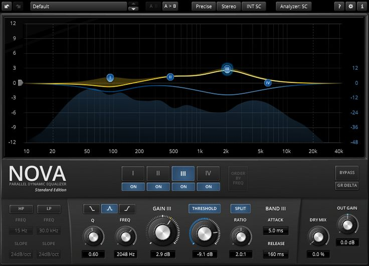 """Great tool for adding space in your mix. I usually put in on the """"instrument/melodic"""" bus and sidechain it with the signal from the percussion bus and use fast attack on the bands to keep the percussion from drowning."""