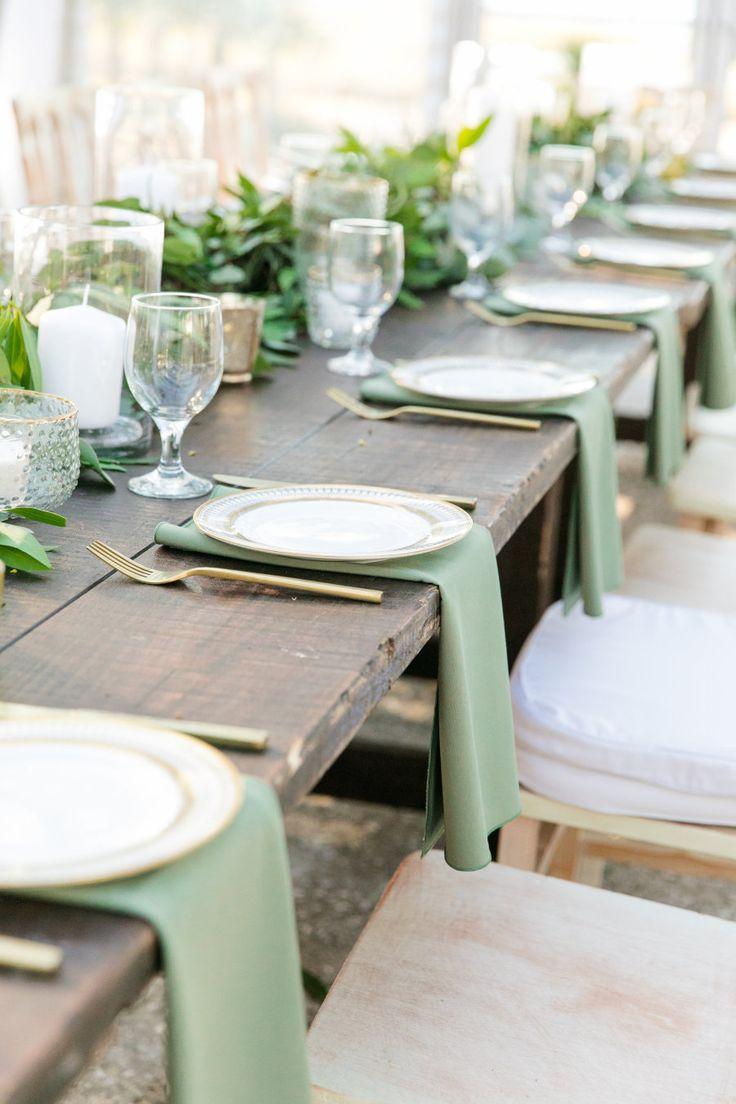 wedding reception at home ideas uk%0A rustic elegant sage green wedding reception table   Photography  Dana  Cubbage Weddings