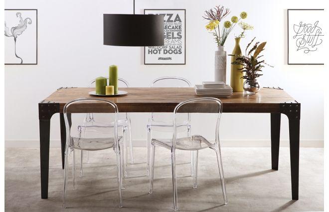 Table à manger industrielle acier et bois MADISON - 700 €