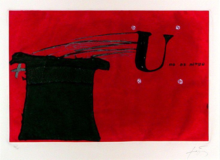 U no és ningú / Nobody is a nobody. Joan Brossa & Antoni Tapies  -signed by two artists-  34,5x25,5x2,5