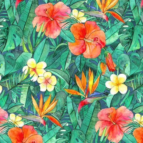 Classic Tropical Garden in watercolors fabric by micklyn on Spoonflower - custom fabric