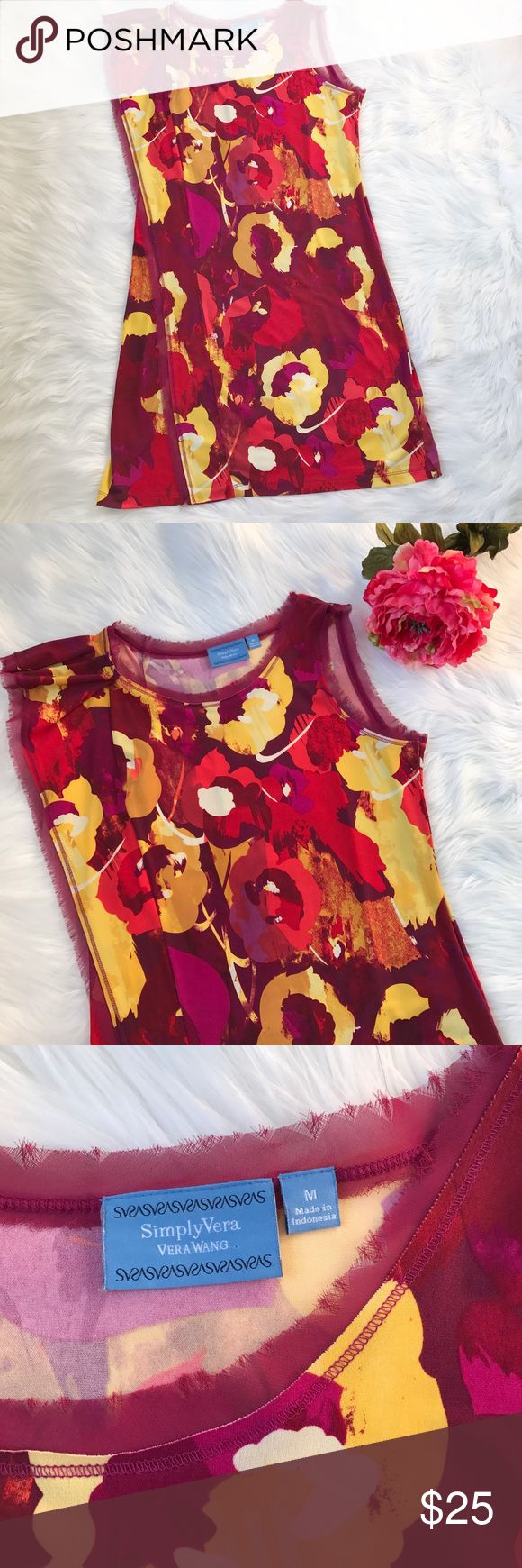 """Simply Vera Floral Dress Bright and beautiful floral dress by Vera Wang. Lightweight, stretchy, and very comfortable!! Dress measures approximately 46"""" in length and is in perfect like-new condition Simply Vera Vera Wang Dresses Midi"""