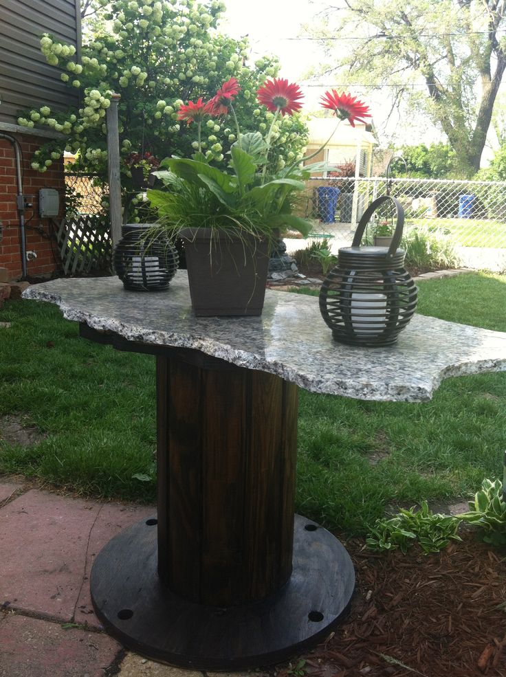Spool/granite & a little stain all free & repurposed