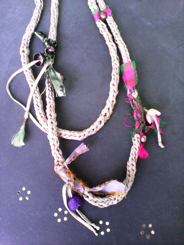 Fabric cotton silk necklace