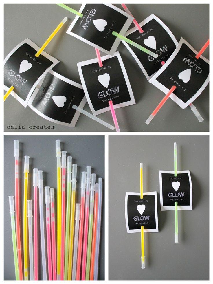 delia creates: Last Minute Glow Stick Valentines